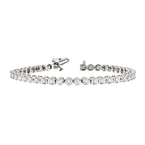 Stunning Modern 14K White Gold Ladies Diamond Tennis Bracelet - 3.28CTW - New