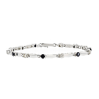 Stunning Modern 14K White Gold Ladies Diamond & Blue Sapphire Bracelet - New