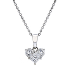 Ladies Modern 14K White Gold Diamond Heart-Shaped Pendant & Necklace Set - New
