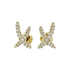 Stunning Modern Ladies 14K Yellow Gold Diamond Stud Earrings - Brand New