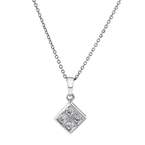Stylish Modern Ladies 14K White Gold Diamond Pendant & Chain Necklace Set - NEW