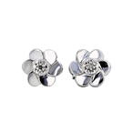Charming Modern Ladies 14K White Gold Floral Design Diamond Earrings - New