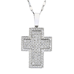 Gorgeous Modern 14K White Gold Diamond Cross Pendant & Necklace Set - 2.35CTW