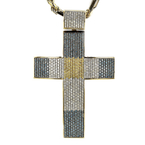 Gorgeous Modern 14K Yellow Gold Diamond Cross Pendant & Necklace Set - 5.64CTW