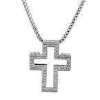 NEW Modern 18K White Gold Diamond Cross Pendant & Chain Necklace Set - 1.76CTW