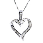 Ladies Modern 14K White Gold Heart-Shaped Diamond Pendant & Necklace Set - New