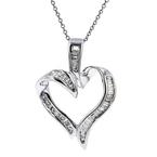 Ladies Modern 14K White Gold Heart-Shaped Diamond Pendant & Necklace Set - New