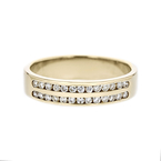 Elegant Modern Ladies 14K Yellow Gold Diamond Ring Band - Brand New