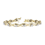 Elegant Modern Ladies 14K Two-Tone Yellow & White Gold Diamond Bracelet - New