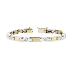 Stylish Modern Ladies 14K Two-Tone Yellow & White Gold Diamond Bracelet - New