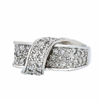 Exquisite Modern Ladies 14K White Gold Round Brilliant Cut Diamond Ring - New