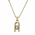 Stylish Modern 14K Yellow Gold Unique Design Diamond Pendant & Necklace Set NEW