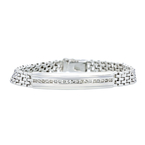 Stunning Modern 14K White Gold Mens/Womens/Unisex Diamond Bracelet - New
