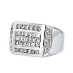 Stunning Modern Mens 14K White Gold Diamond Signet Ring - 2.31CTW - Brand New