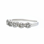 Charming Modern 14K White Gold Rosette Design Diamond Cluster Ladies Ring - New