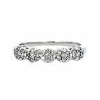 Charming Modern 14K White Gold Rosette Design Diamond Cluster Ladies Ring - New