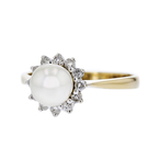 Stylish Modern 14K Yellow Gold Pearl & Diamond Halo Ladies Ring - New