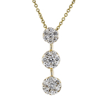 Gorgeous Modern Ladies 14K Yellow Gold Diamond Dangle Pendant & Chain Necklace