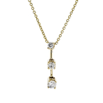 Stylish Modern Ladies 14K Yellow Gold Diamond Dangle Pendant & Necklace Set NEW