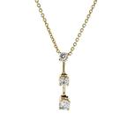 Stylish Modern Ladies 14K Yellow Gold Diamond Dangle Pendant & Necklace Set NEW