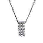 Elegant Modern Ladies 14K White Gold Diamond Pendant & Chain Necklace Set - New