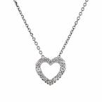 Modern Ladies 14K White Gold Diamond Heart-Shaped Pendant & Necklace Set - New