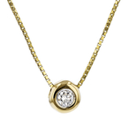 Elegant Modern Ladies 14K Yellow Gold Diamond Chain Necklace & Pendant Set - New
