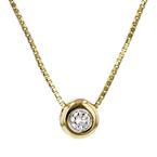 Elegant Modern Ladies 14K Yellow Gold Diamond Chain Necklace & Pendant Set - New