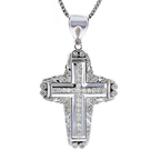 Exquisite Modern 14K White Gold Diamond 2.04CTW Necklace & Cross Pendant Set NEW