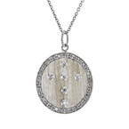 Stunning Modern Ladies 18K White Gold Round Diamond Necklace & Pendant Set - New