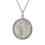 Stunning Modern Ladies 18K White Gold Round Diamond Necklace & Pendant Set - New