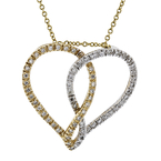 Modern 14K Two-Tone Gold Diamond Necklace & Heart-Shaped Pendant Set - New