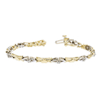 Elegant Modern 14K Two-Tone Yellow & White Gold Ladies Diamond Bracelet - New