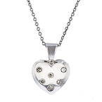 Charming Modern Ladies 14K White Gold Diamond Necklace & Heart Pendant Set - New