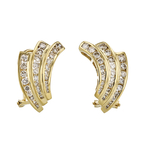 Exquisite Modern Ladies 18K Yellow Gold Diamond Earrings - 1.26CTW - Brand New