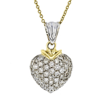 Modern Ladies 18K Yellow & White Gold Diamond Necklace & Heart Pendant Set - NEW