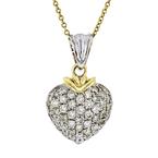 Modern Ladies 18K Yellow & White Gold Diamond Necklace & Heart Pendant Set - NEW
