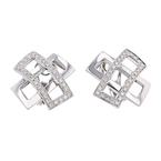 Exquisite Modern Ladies Platinum Diamond Earrings - 1.05CTW - Brand New