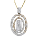 Exquisite Modern Ladies 18K Two-Tone Gold Diamond Necklace & Pendant Set - New