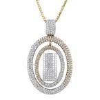 Exquisite Modern Ladies 18K Two-Tone Gold Diamond Necklace & Pendant Set - New