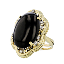 Gorgeous Modern 18K Yellow Gold Black Onyx & Diamond Ladies Statement Ring - New
