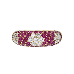 Charming Modern 18K Yellow Gold Floral Design Diamond & Red Ruby Womens Ring NEW