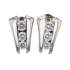 Exquisite Modern Ladies 14K White Gold Diamond Stud Earrings - 1.48CTW - New