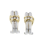 Charming Modern Ladies 14K Two-Tone White & Yellow Gold Diamond Earrings - New