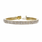 Exquisite Modern Ladies 14K Yellow Gold Round Brilliant Diamond Bracelet - New