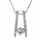 Stylish Modern Ladies 14K White Gold Diamond Necklace & Pendant Set - New