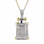 Gorgeous Modern Ladies 14K Two-Tone Gold Diamond Necklace & Pendant Set - NEW