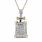 Gorgeous Modern Ladies 14K Two-Tone Gold Diamond Necklace & Pendant Set - NEW