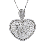 NEW Modern Ladies 14K White Gold Diamond Necklace & Heart Pendant Set - 4.56CTW
