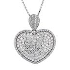 NEW Modern Ladies 14K White Gold Diamond Necklace & Heart Pendant Set - 4.56CTW